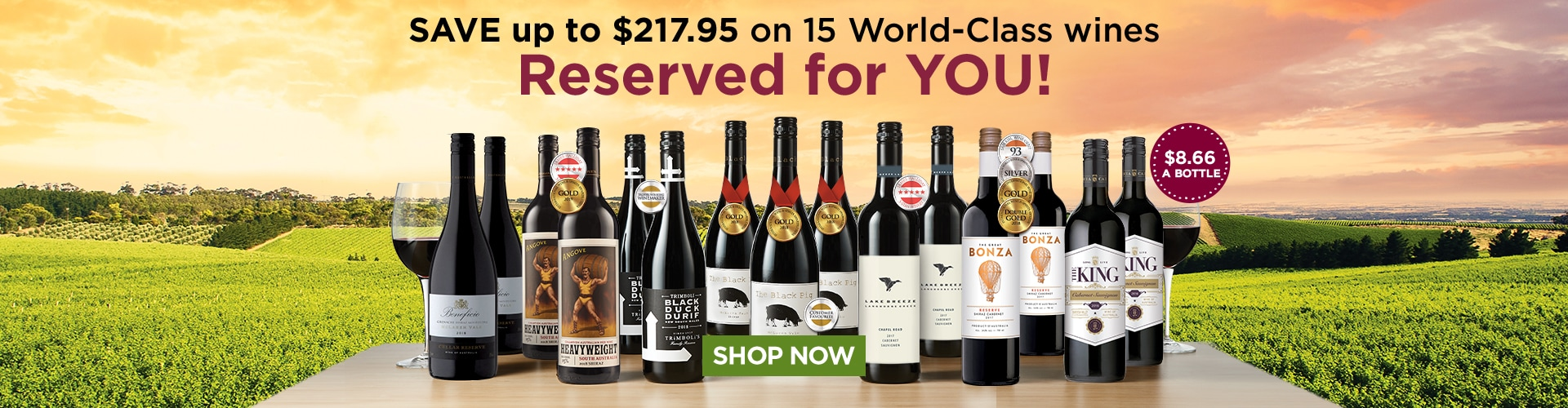 SAVE up to 228.97 on 15 World-class Reds - Reserved for you! Only 8.66 a bottle!
